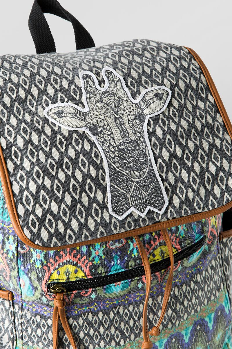 Giraffe Canvas Backpack-  multi-clalternate