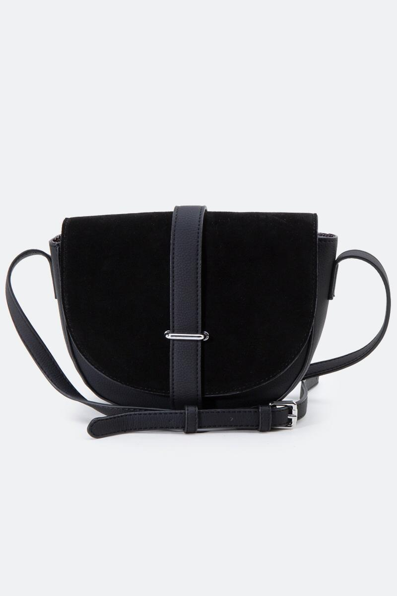 Abigail Suede Saddle Crossbody-Black