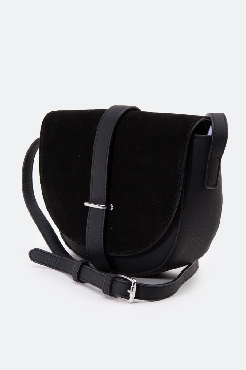 Abigail Suede Saddle Crossbody-Black 3