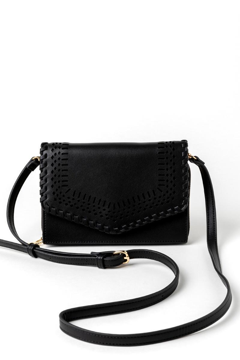 Molly Perforated Wallet-  blk-cl