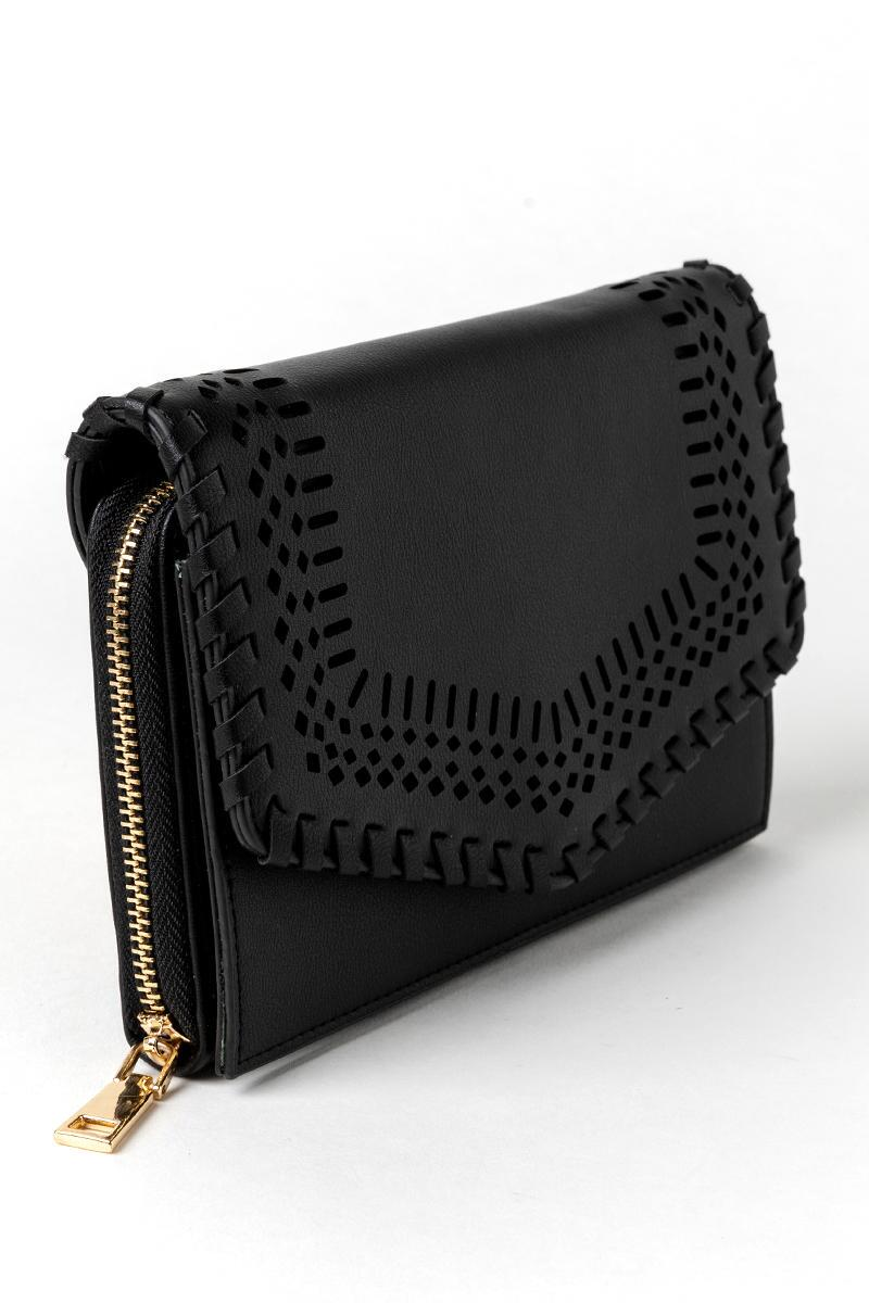 Molly Perforated Wallet-  blk-cl2