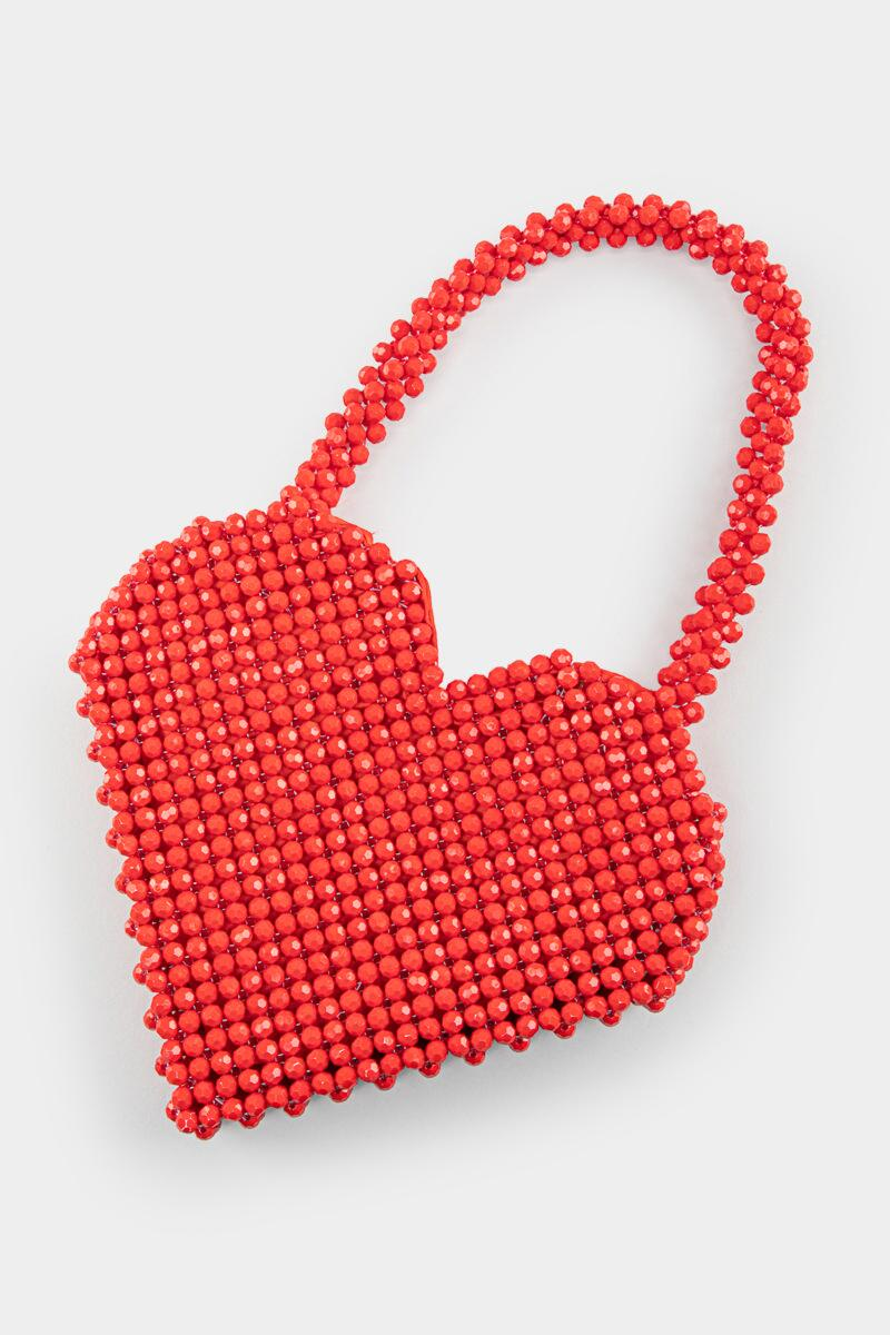 Beatrice Beaded Heart Bag-  red-cl2