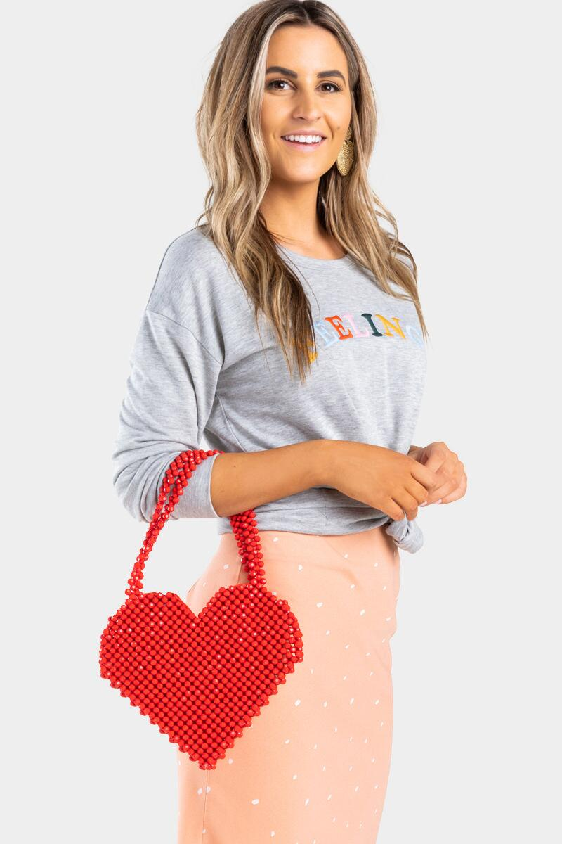 Beatrice Beaded Heart Bag-  red-cl3