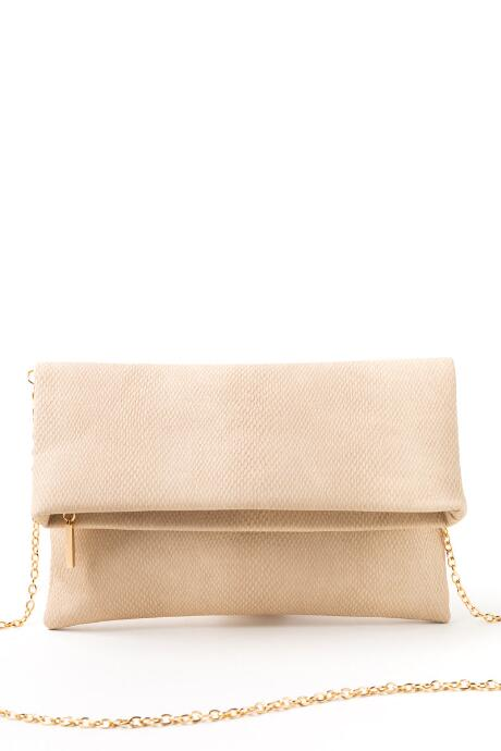 Sally Snakeskin Fold-over Clutch
