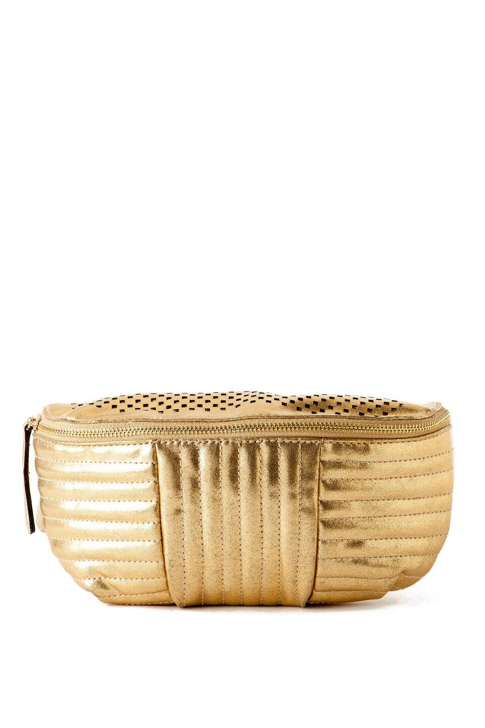Bronx Pleated Fanny Pack in Gold-  gold-cl