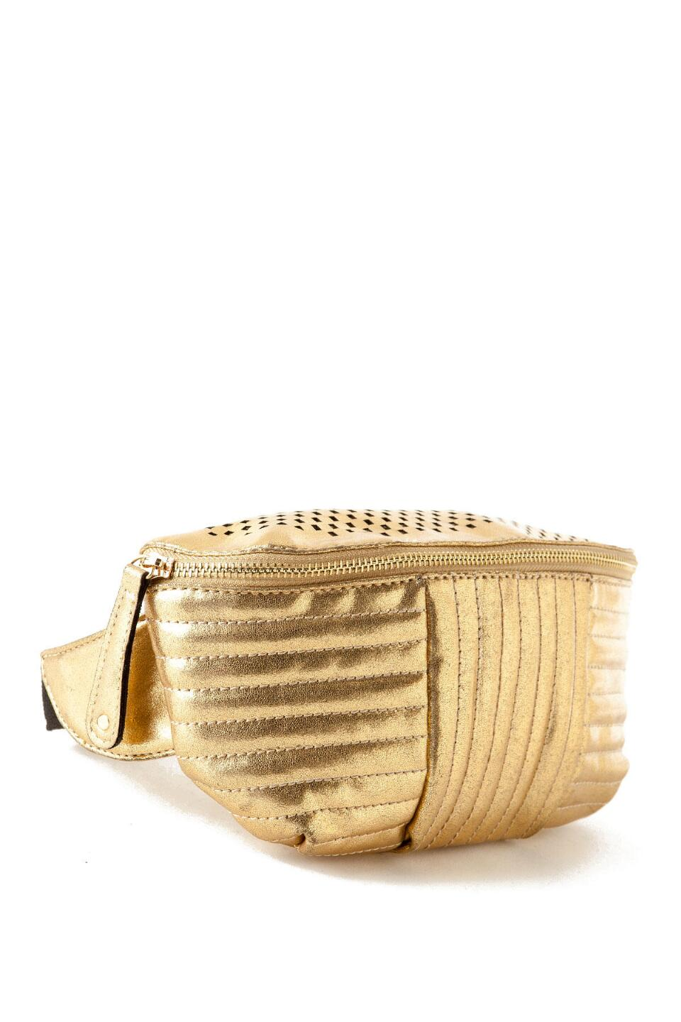 Bronx Pleated Fanny Pack in Gold-  gold-clalternate