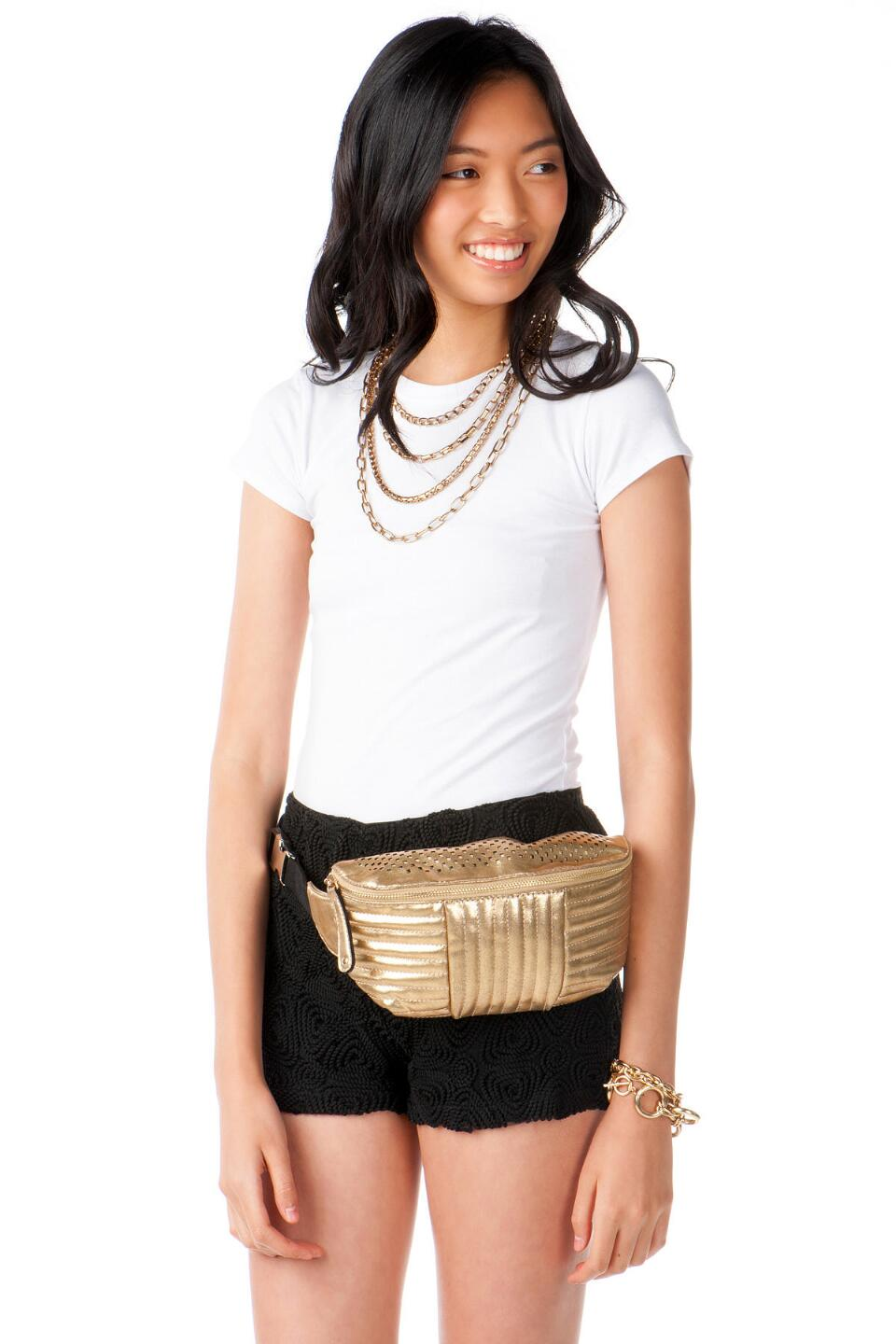 Bronx Pleated Fanny Pack in Gold-  gold-clmodel