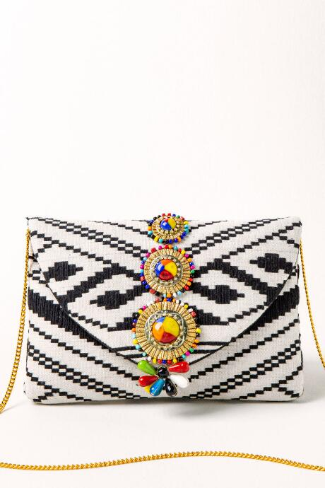 Arizona Woven Jeweled Clutch