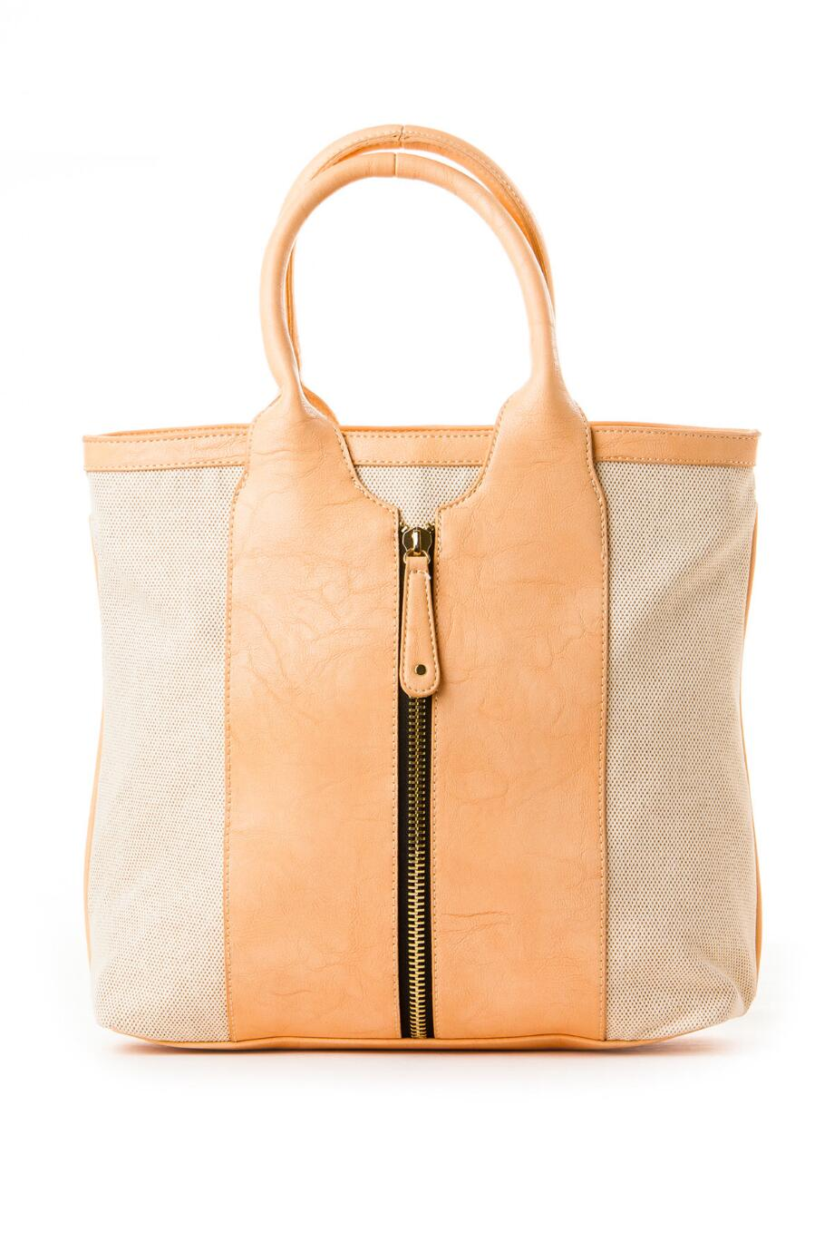 Nantucket Canvas Medium Striped Tote in Nude
