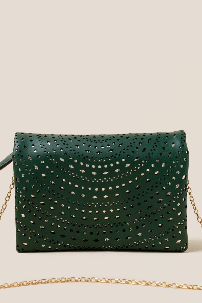 Brielle Perforated Clutch Crossbody-  pine-cl
