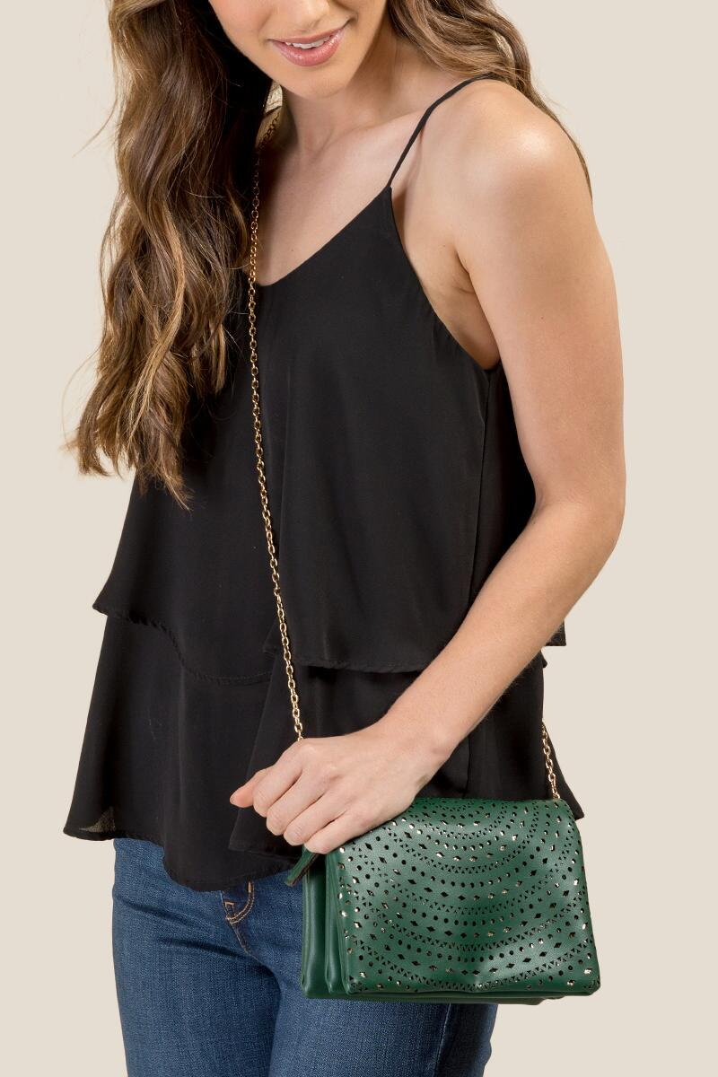Brielle Perforated Clutch Crossbody-  pine-clmodel