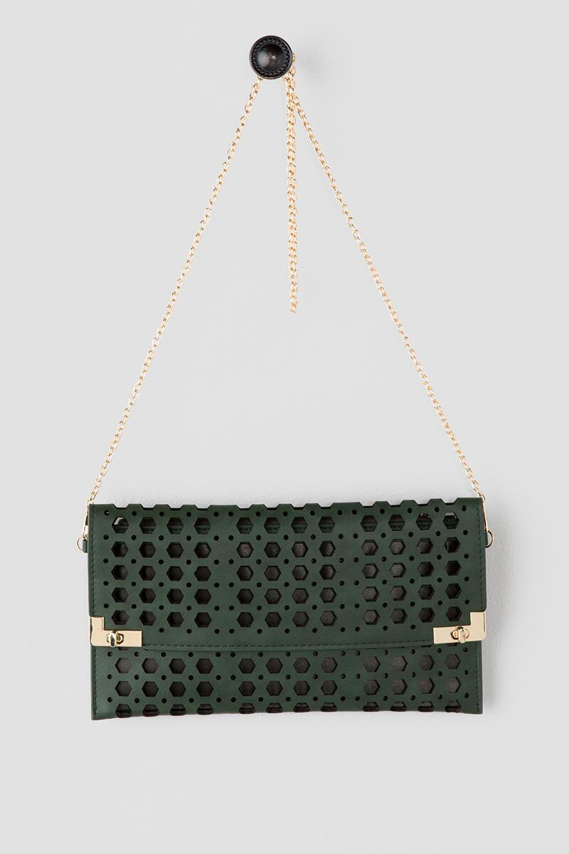 Jasmine Rectangle Perforated Clutch-  grn-cl