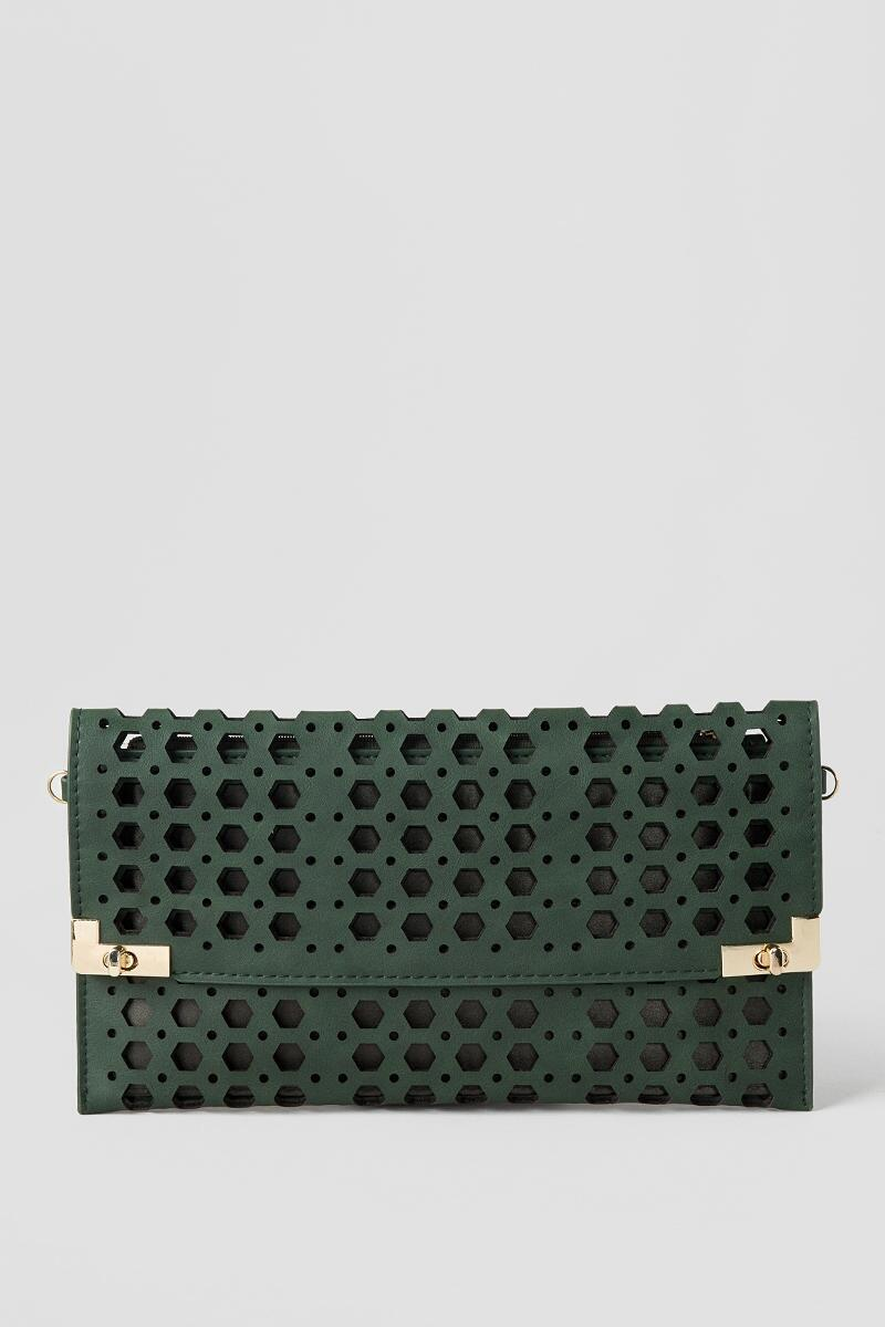 Jasmine Rectangle Perforated Clutch-  grn-clalternate