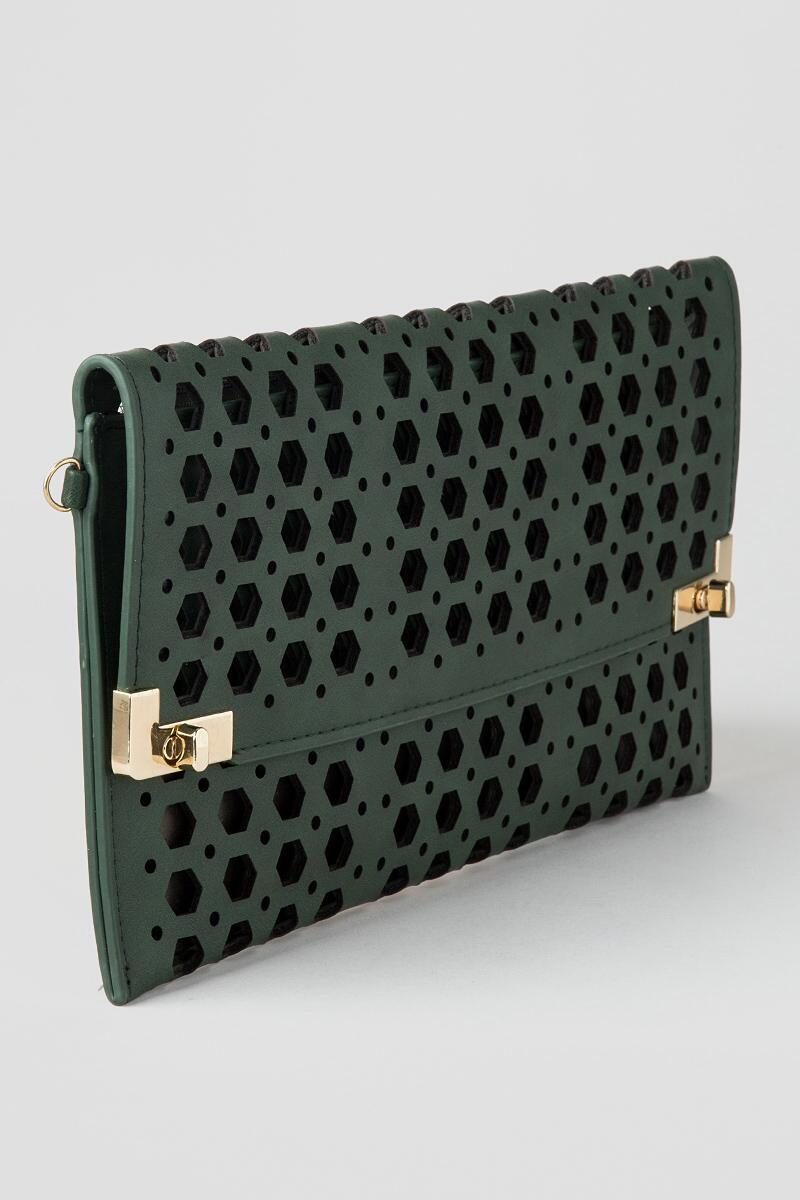 Jasmine Rectangle Perforated Clutch-  grn-clalternate2