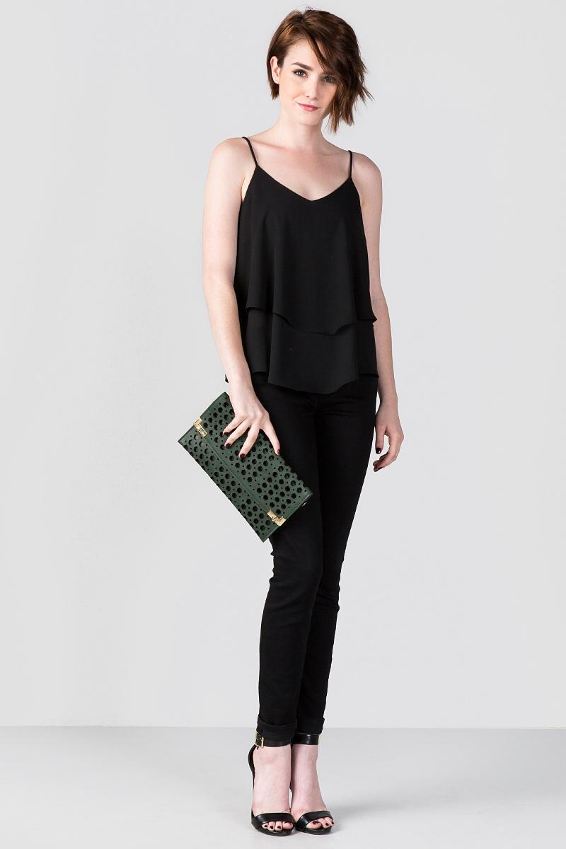 Jasmine Rectangle Perforated Clutch-  grn-clmodel