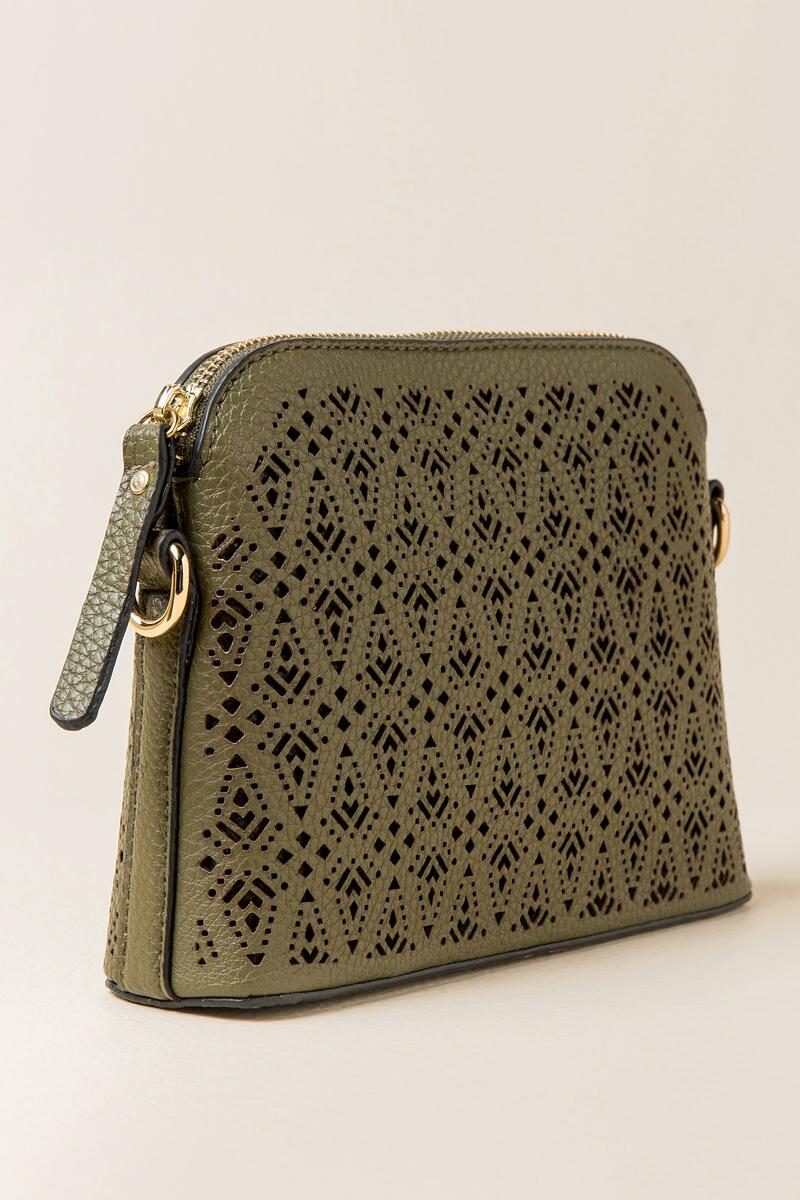 Navarro Perforated Crossbody-  olv-clside