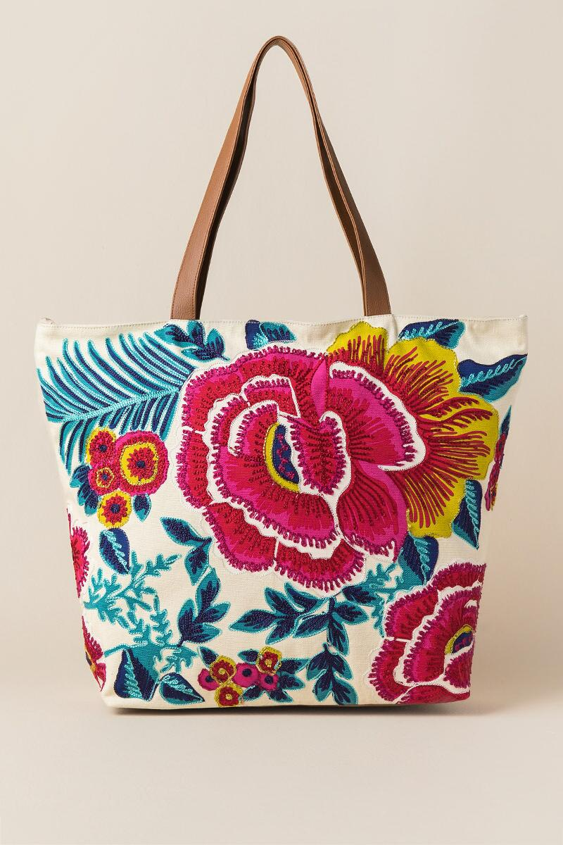 Geela Multi-Colored Floral Embroidered Beach Tote-  nat-cl