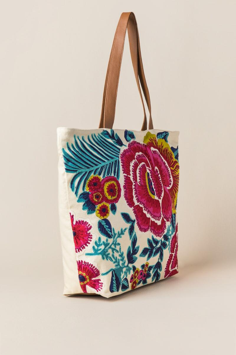 Geela Multi-Colored Floral Embroidered Beach Tote-  nat-clside