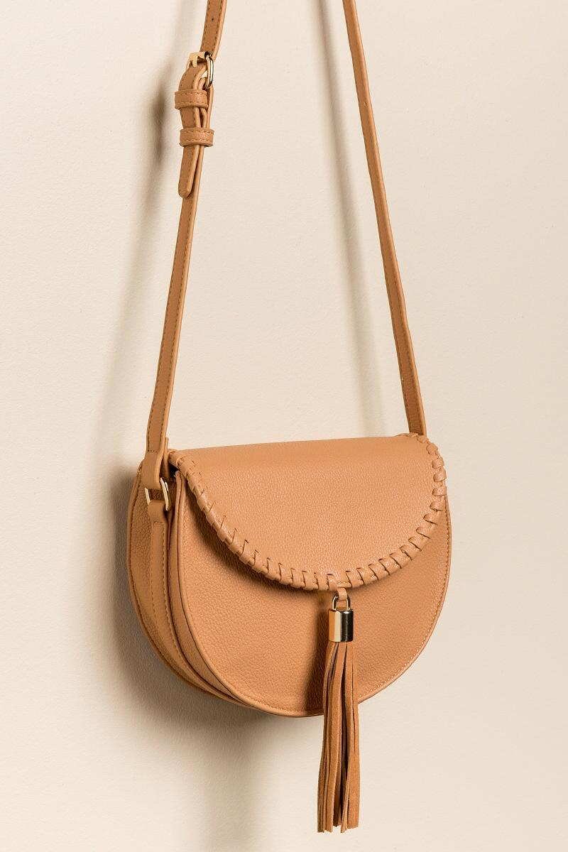 Hope Suede Tassel Saddle Bag-  caml-cl