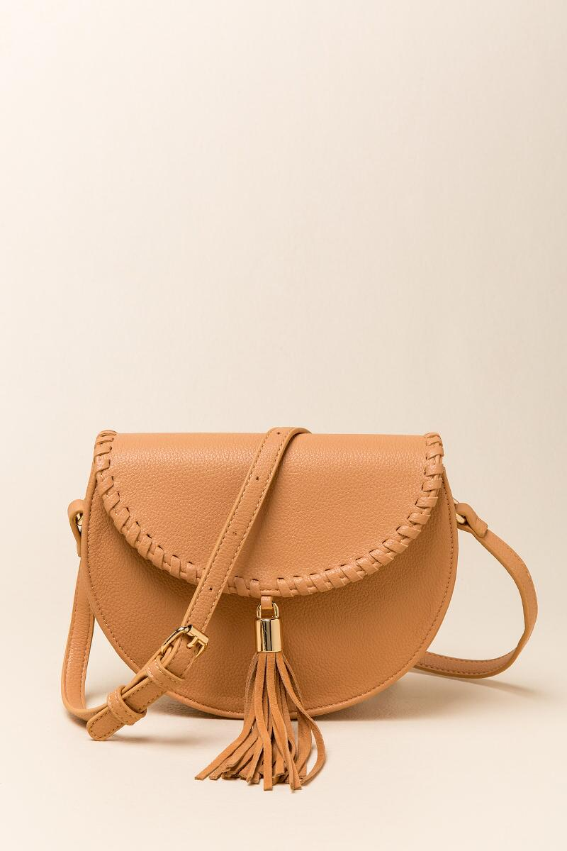 Hope Suede Tassel Saddle Bag-  caml-clfront