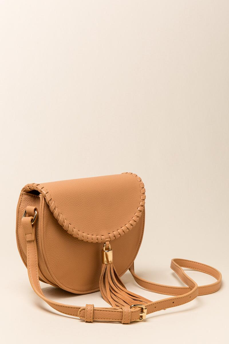 Hope Suede Tassel Saddle Bag-  caml-clside