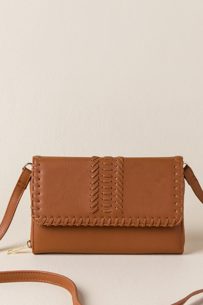 Louise Whipstitch Wallet Crossbody-  cognc-cl
