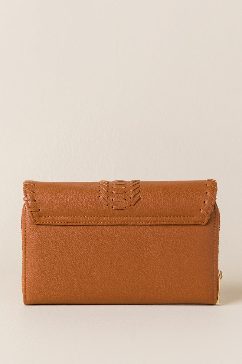 Louise Whipstitch Wallet Crossbody-  cognc-clback