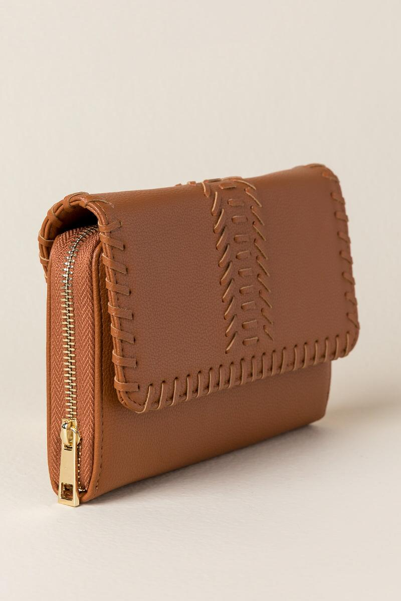 Louise Whipstitch Wallet Crossbody-  cognc-clside