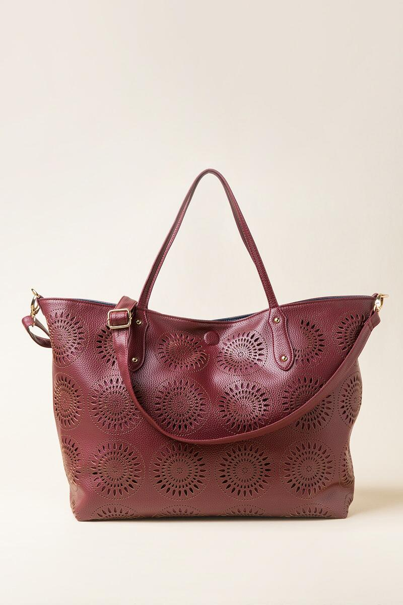 Morocco Perforated Tote Bag-  burg-cl