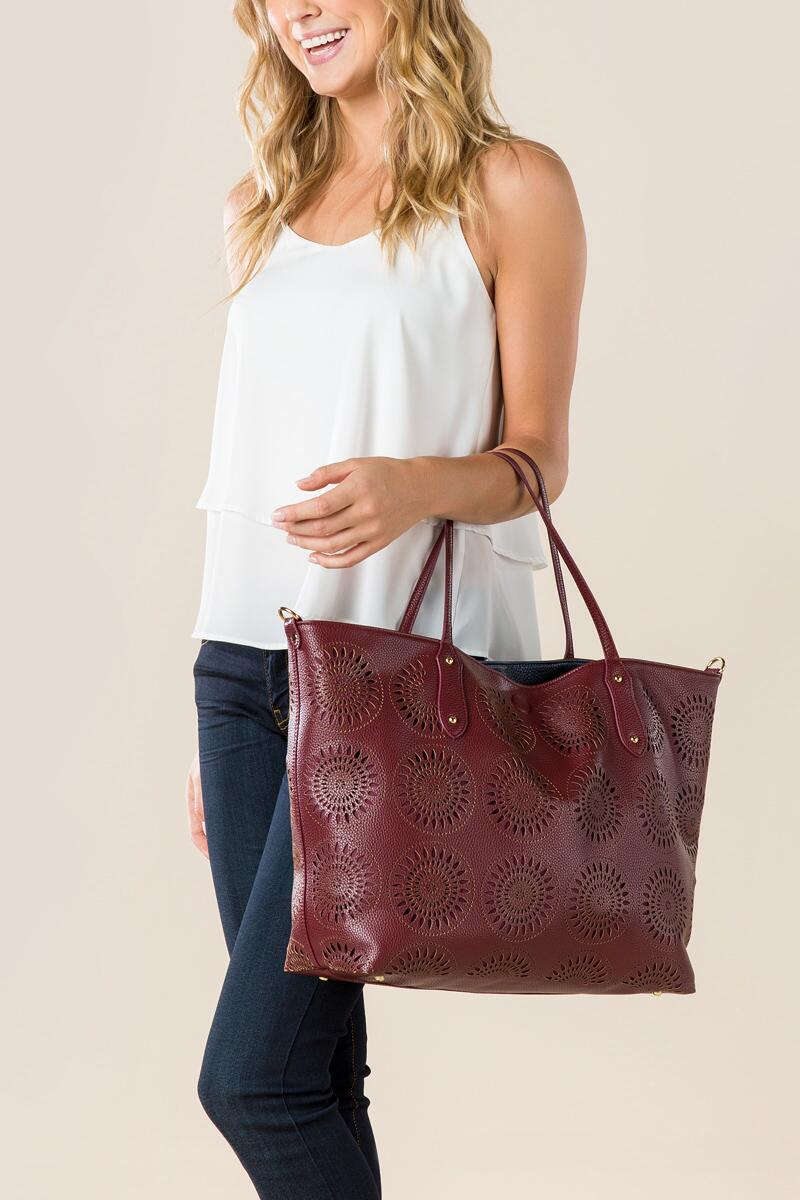 Morocco Perforated Tote Bag-  burg-clmodel