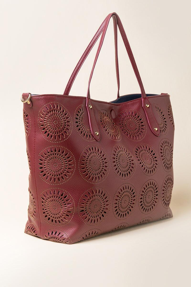 Morocco Perforated Tote Bag-  burg-clside