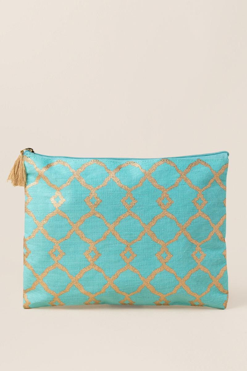 Faith Turquoise and Gold Pouch-  blue-cl