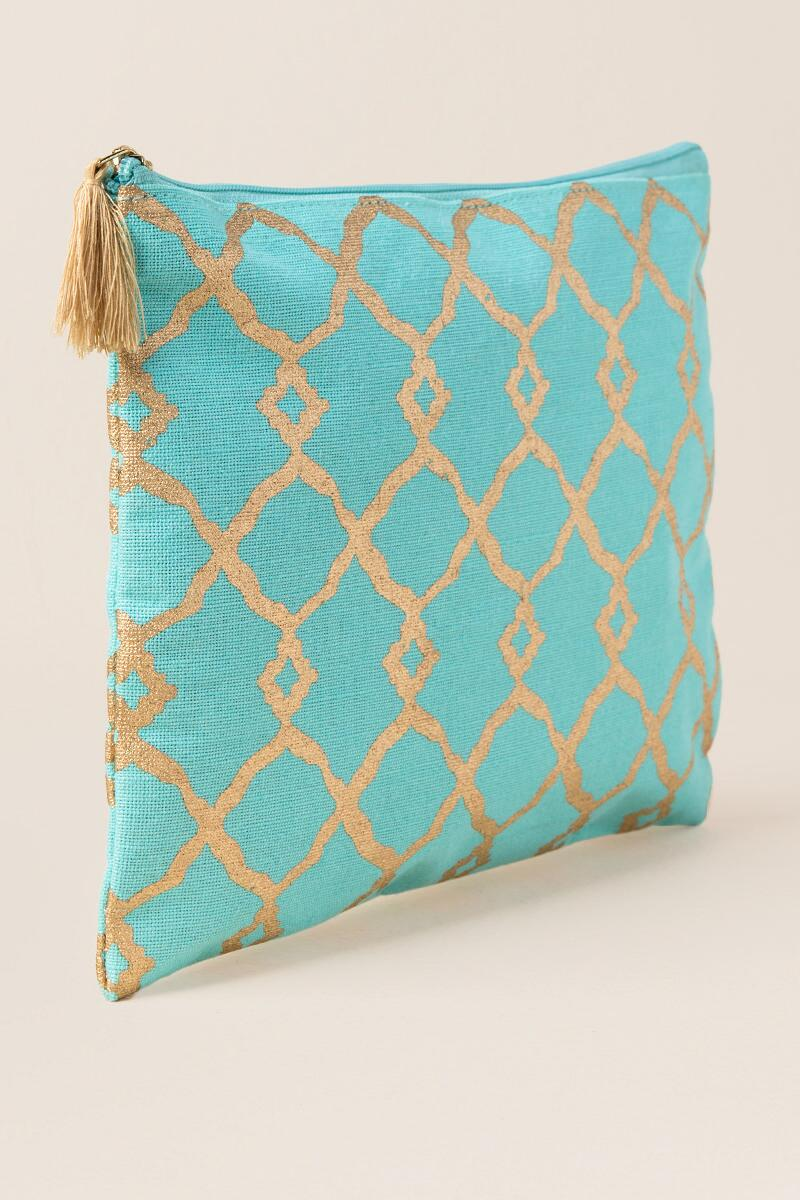 Faith Turquoise and Gold Pouch-  blue-clside