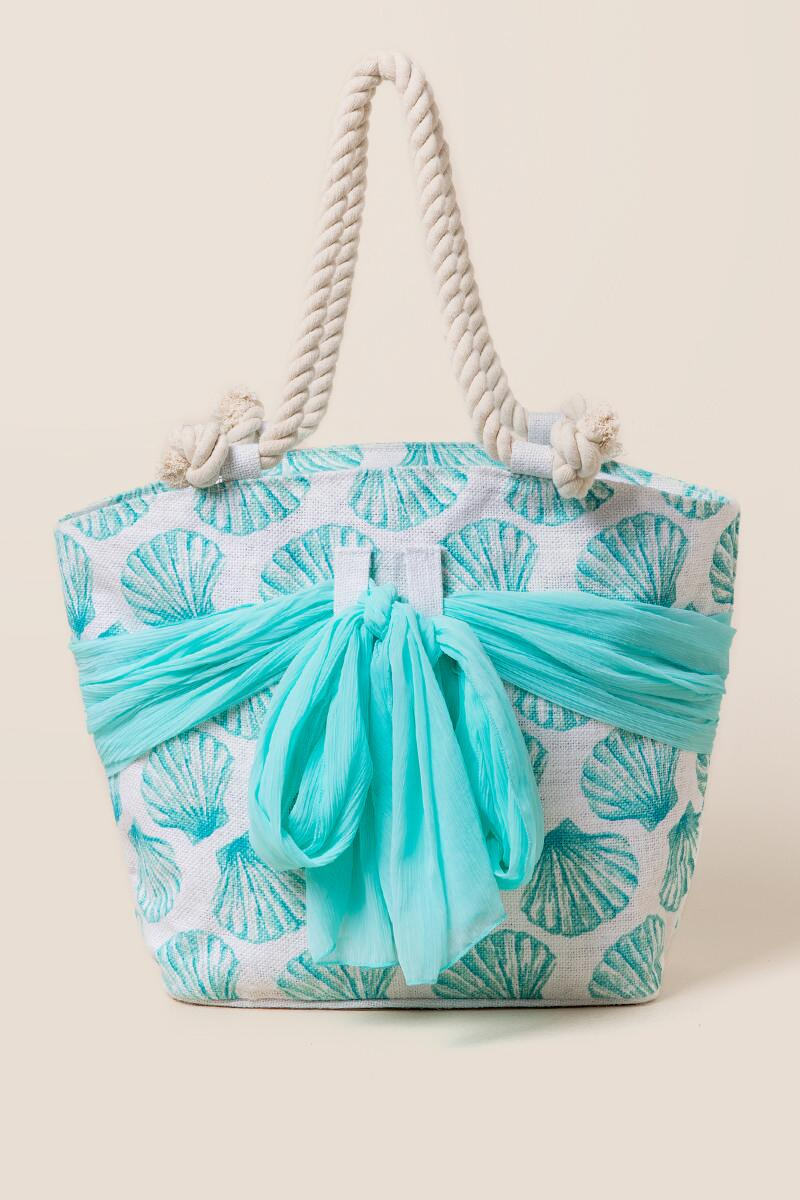 Kimmy Seashell and Sarong Beach Tote-  blue-cl