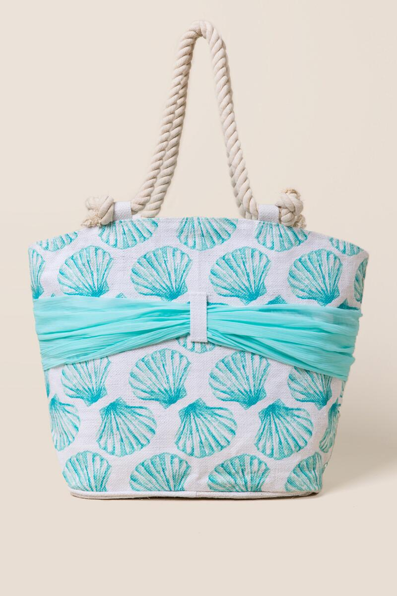 Kimmy Seashell and Sarong Beach Tote-  blue-clback