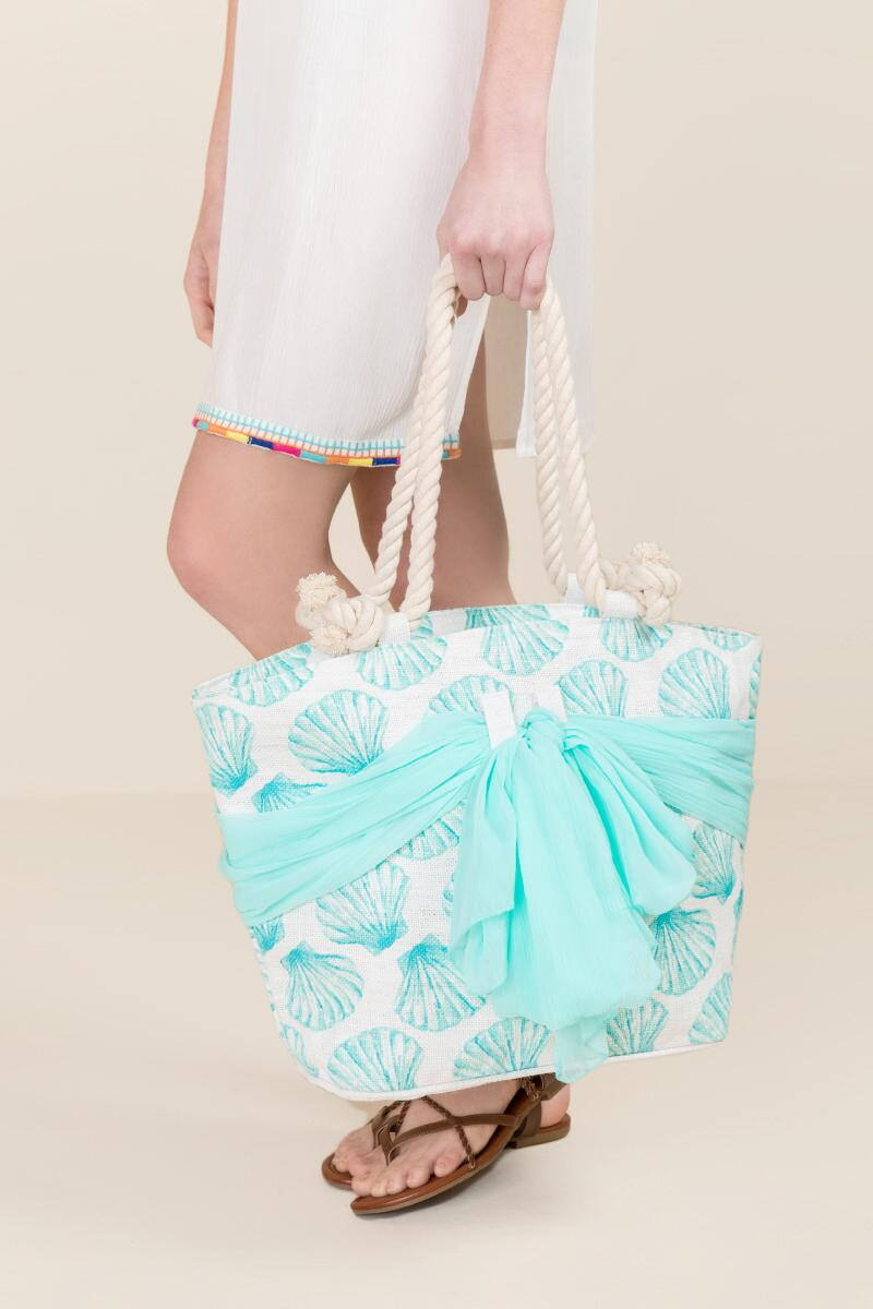Kimmy Seashell and Sarong Beach Tote-  blue-clmodel