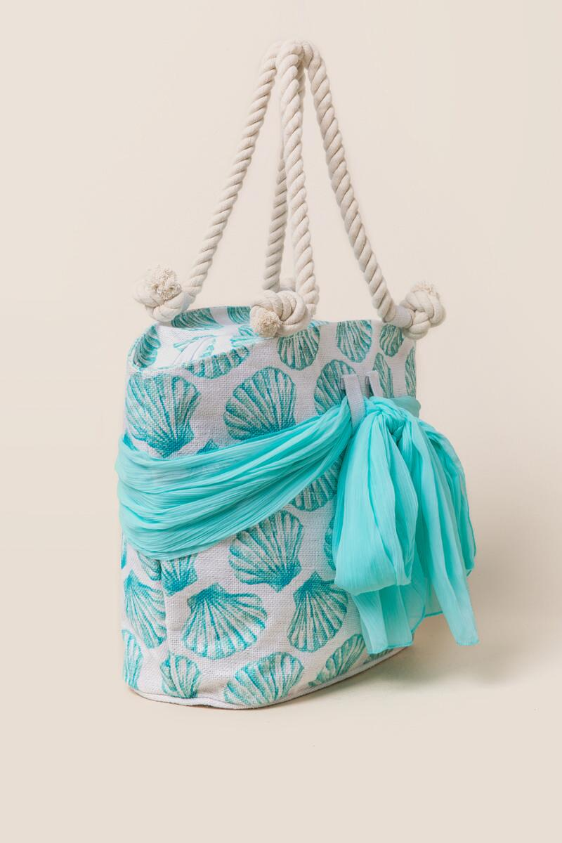 Kimmy Seashell and Sarong Beach Tote-  blue-clside
