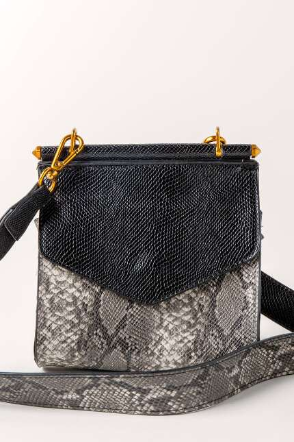 Gray and Black Snakeskin Crossbody