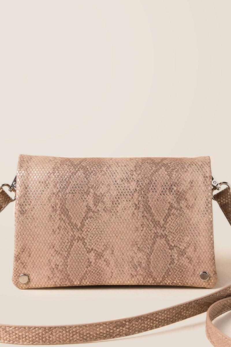 Kylie Snake Classic Crossbody Clutch-  rgold-cl