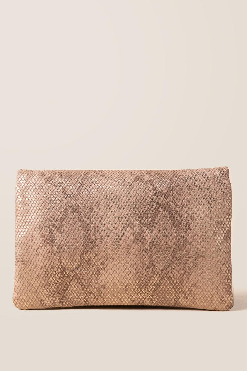 Kylie Snake Classic Crossbody Clutch-  rgold-clback