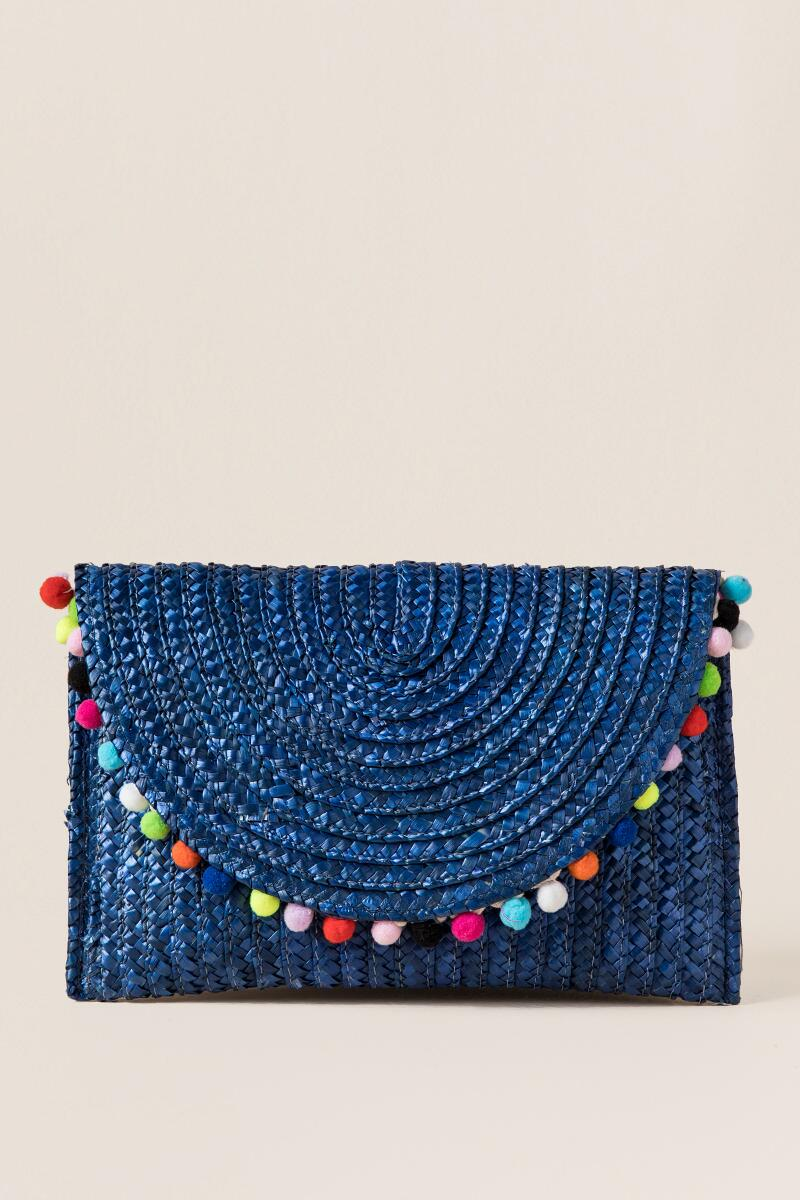 Rainbow Pom Pom Straw Clutch in Blue