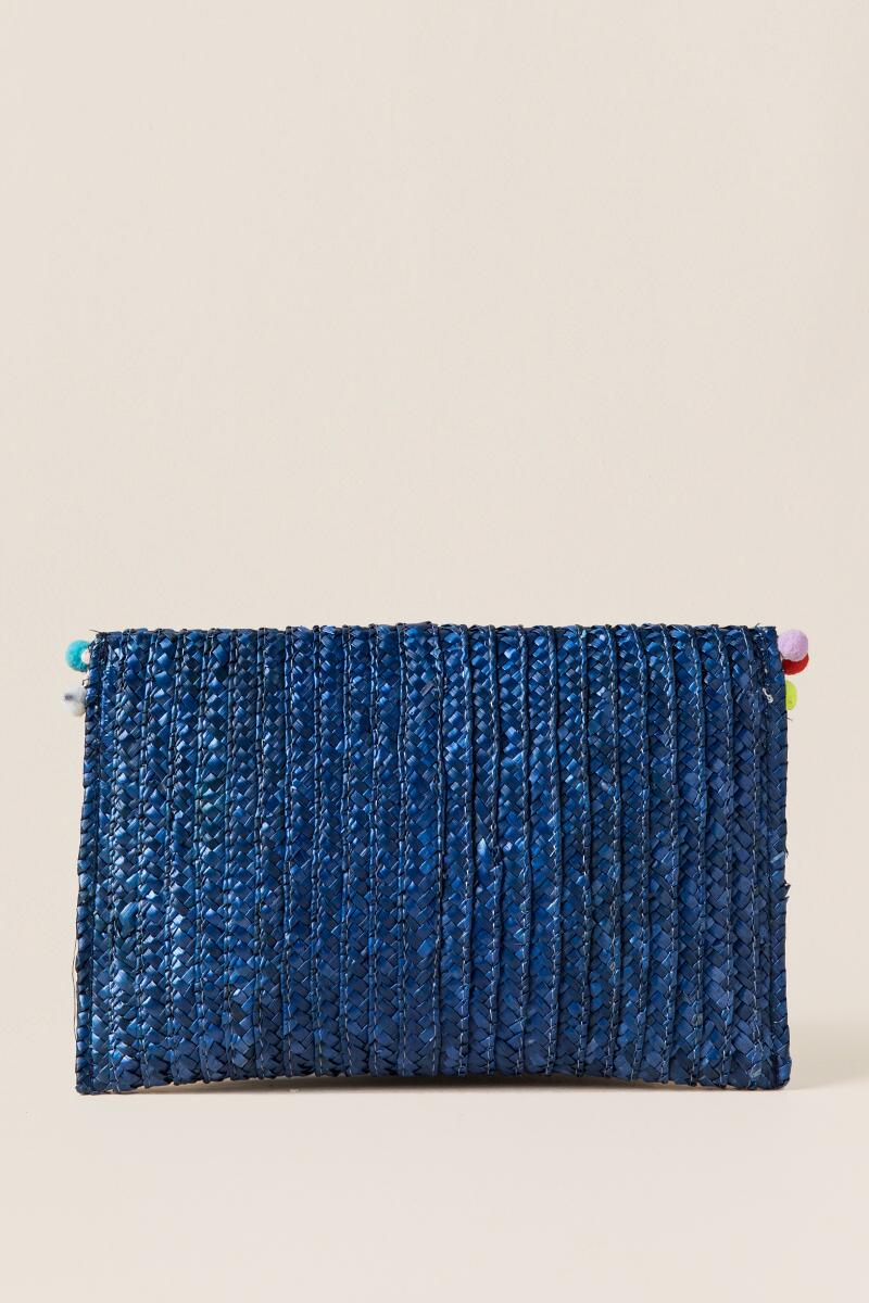 Rainbow Pom Pom Straw Clutch in Blue-  blue-clback