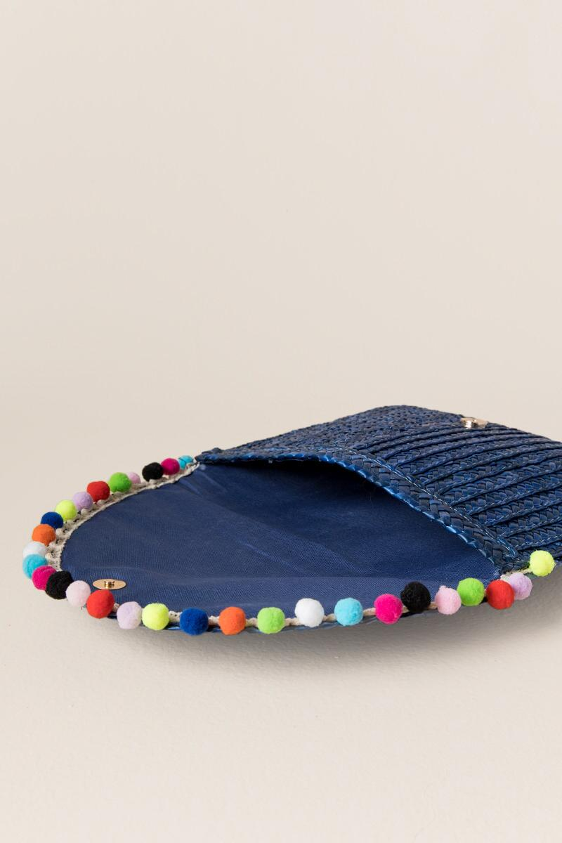 Rainbow Pom Pom Straw Clutch in Blue-  blue-clinside