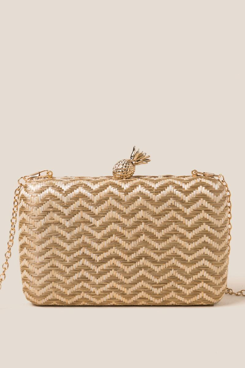 Millie Zig Zag Hard Case Clutch-  nat-cl