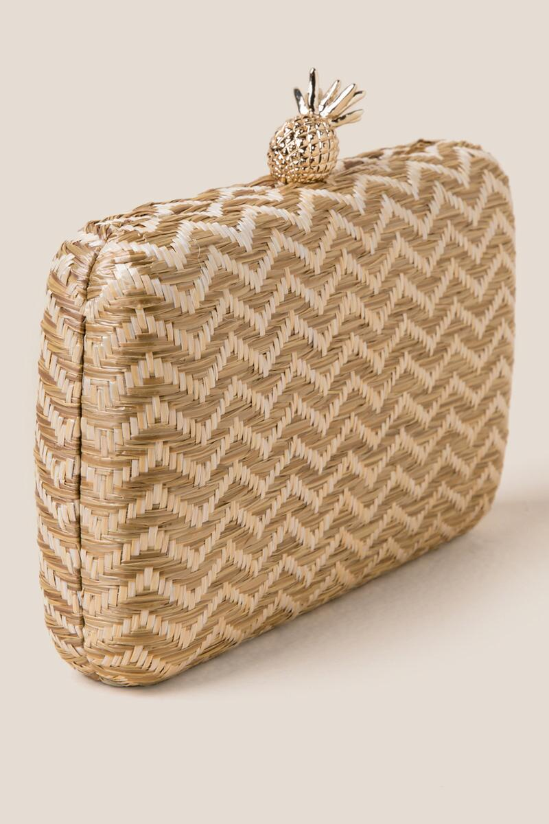 Millie Zig Zag Hard Case Clutch-  nat-cl2