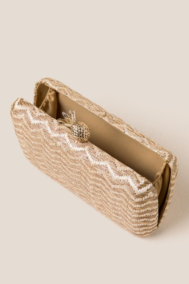 Millie Zig Zag Hard Case Clutch-  nat-cl3