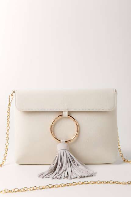 Open Ring Tassel Clutch