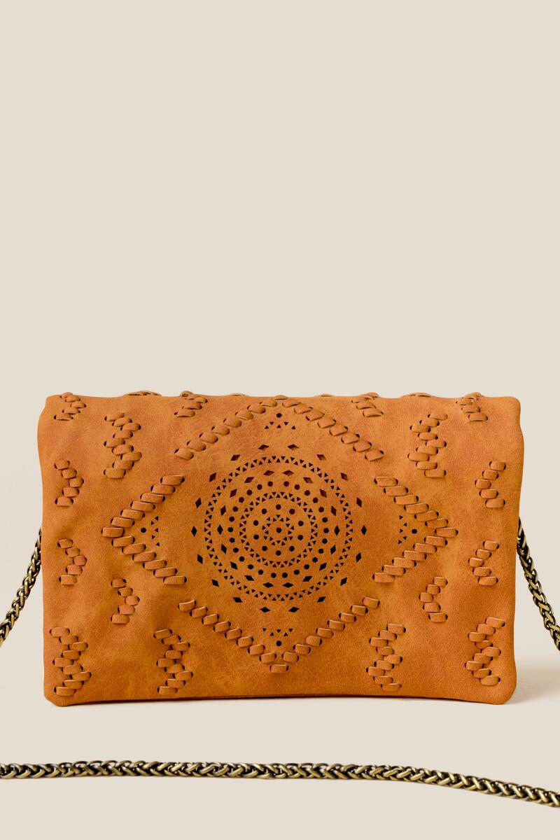 Waverly Perforated Crossbody-Cognac
