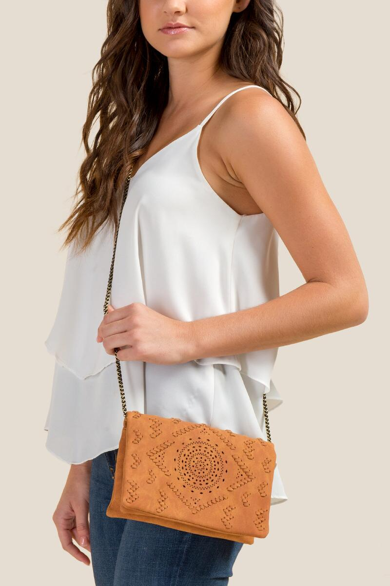Waverly Perforated Crossbody-Cognac 4