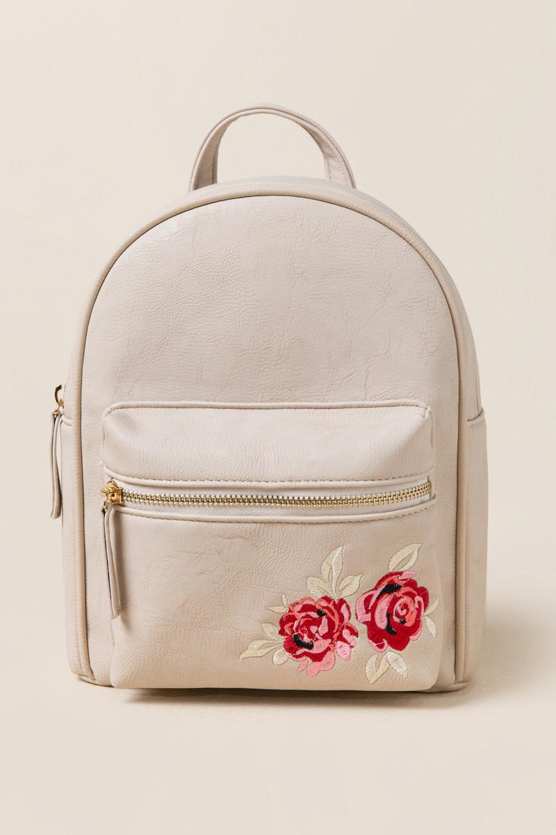 Brooke Rose Embroidered Backpack-  taup-cl